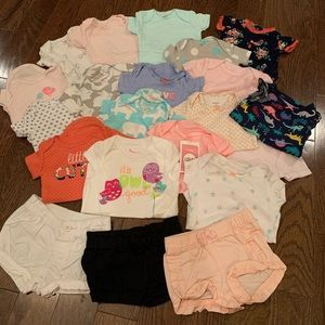 20 piece short sleeve onesies and shorts bundle